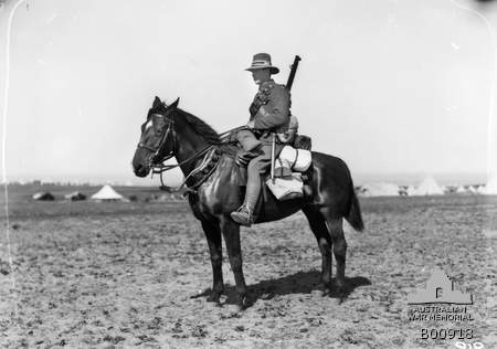 Trooper F A Dellar on his mount, a typical New Zealand Trooper with the New Zealand Light Horse